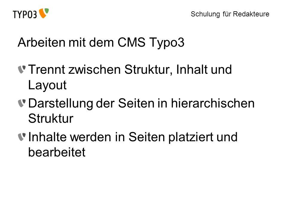 Arbeiten mit dem CMS Typo3
