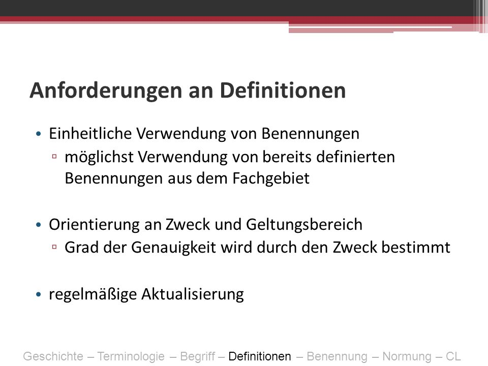 Anforderungen an Definitionen