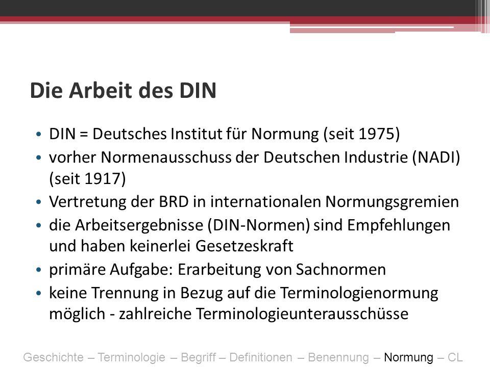 Die Arbeit des DIN DIN = Deutsches Institut für Normung (seit 1975)