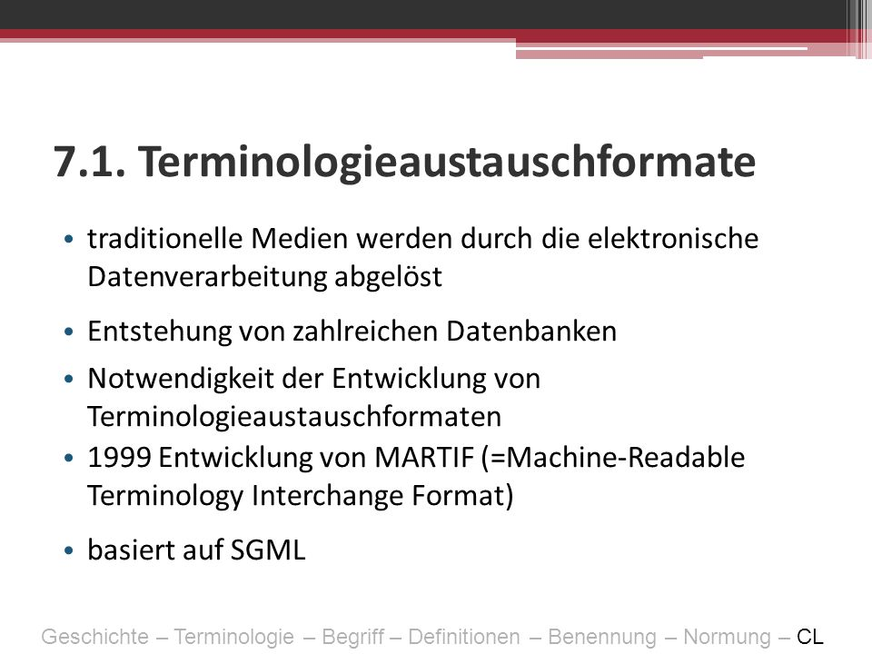 7.1. Terminologieaustauschformate