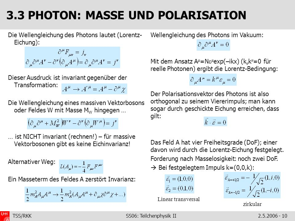 3.3 PHOTON: MASSE UND POLARISATION