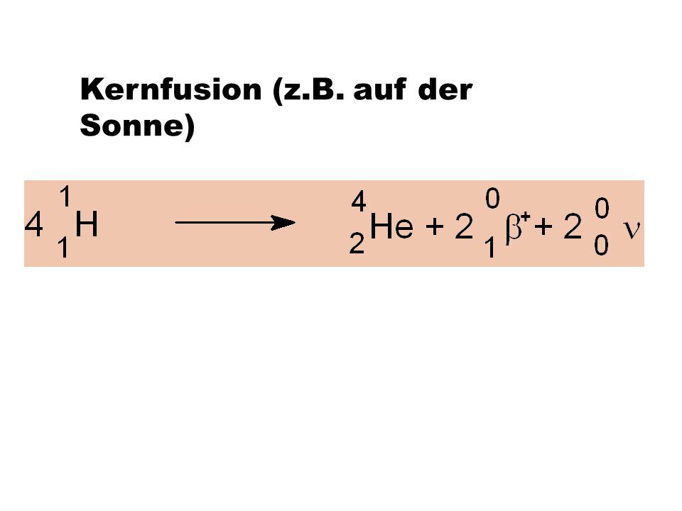 Kernfusion (z.B. auf der Sonne)