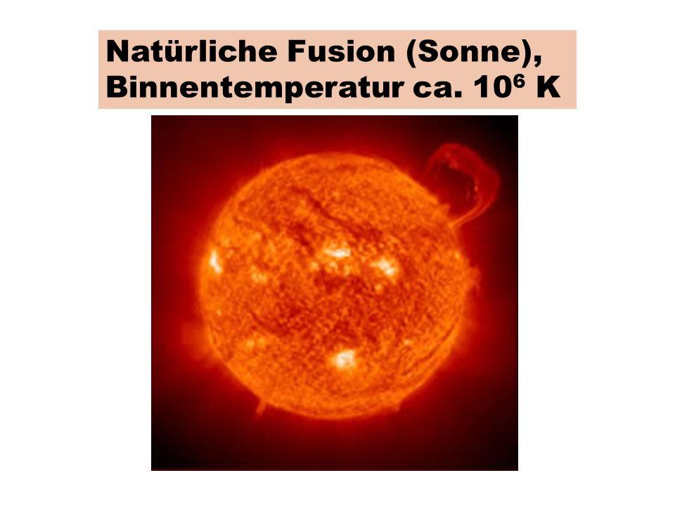 Natürliche Fusion (Sonne), Binnentemperatur ca. 106 K