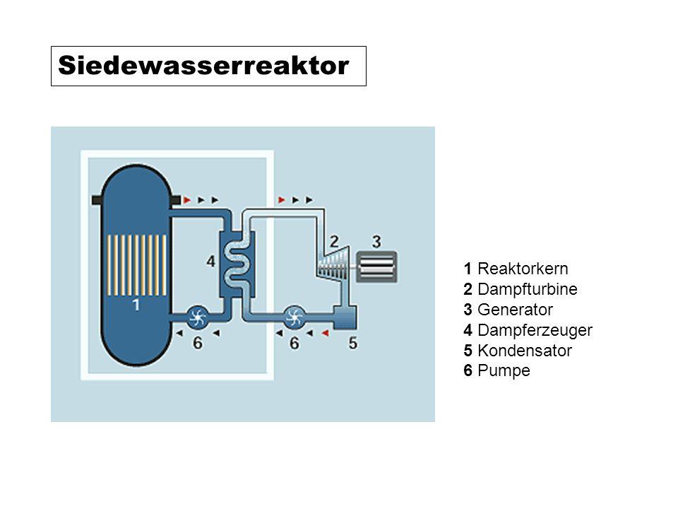 Siedewasserreaktor 1 Reaktorkern 2 Dampfturbine 3 Generator 4 Dampferzeuger 5 Kondensator 6 Pumpe