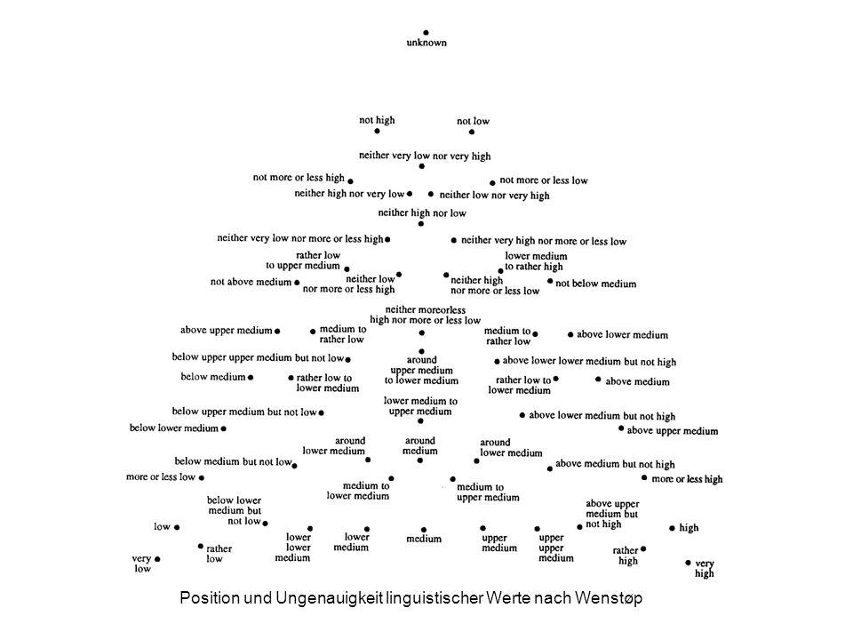 Position und Ungenauigkeit linguistischer Werte nach Wenstøp