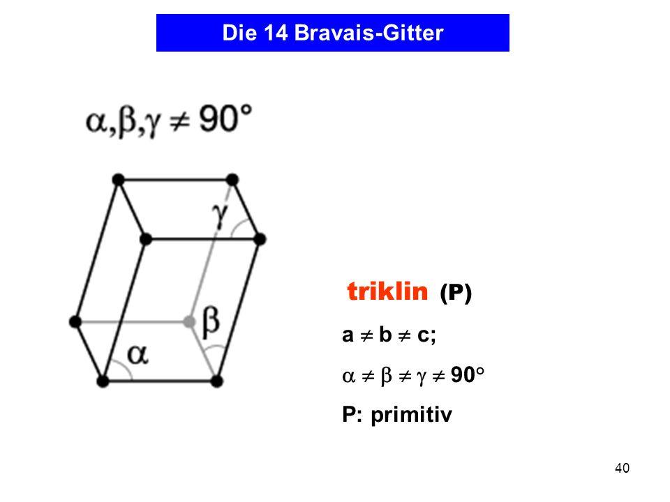 Die 14 Bravais-Gitter a  b  c;       90° P: primitiv