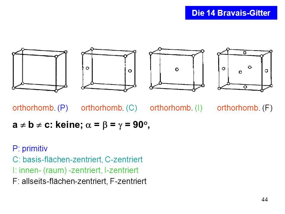 a  b  c: keine;  =  =  = 90o, Die 14 Bravais-Gitter