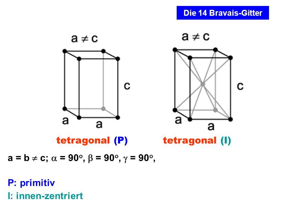 a = b  c;  = 90o,  = 90o,  = 90o, P: primitiv I: innen-zentriert