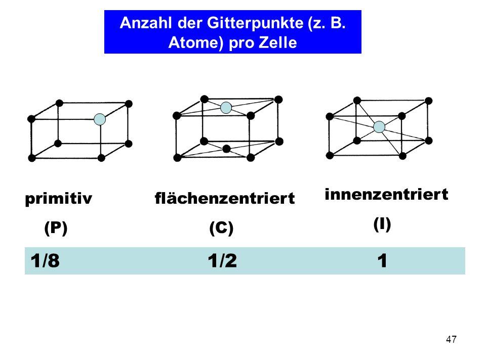 Anzahl der Gitterpunkte (z. B. Atome) pro Zelle