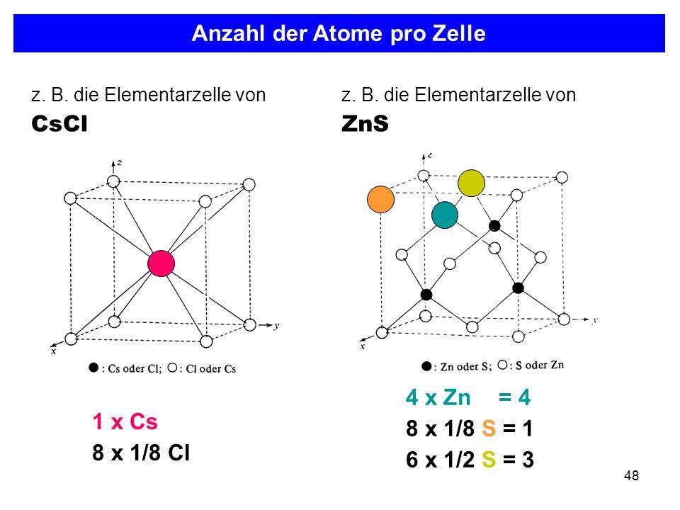 Anzahl der Atome pro Zelle