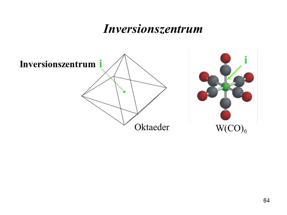 Inversionszentrum i W(CO)6 Inversionszentrum i Oktaeder