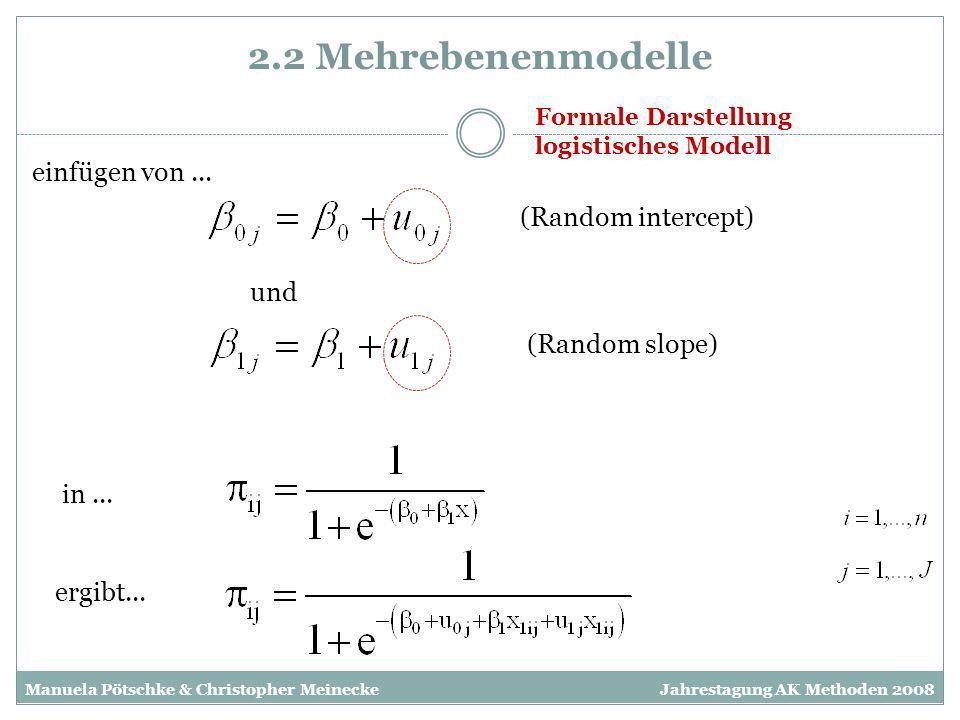 2.2 Mehrebenenmodelle einfügen von ... (Random intercept) und