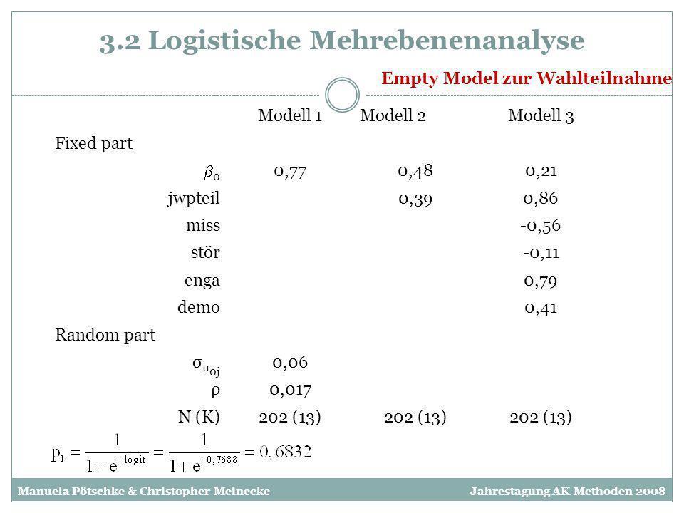 3.2 Logistische Mehrebenenanalyse