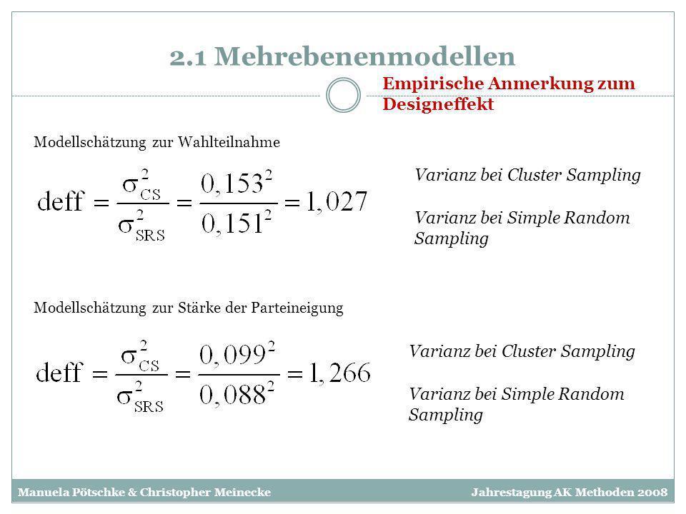 2.1 Mehrebenenmodellen Empirische Anmerkung zum Designeffekt