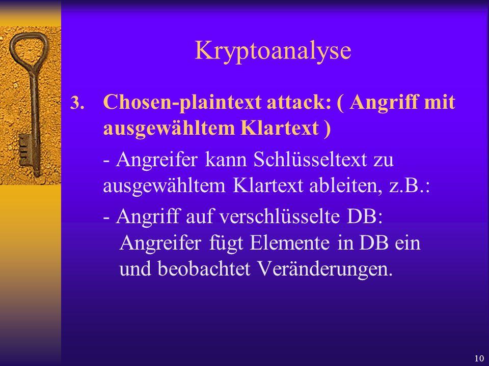 KryptoanalyseChosen-plaintext attack: ( Angriff mit ausgewähltem Klartext ) - Angreifer kann Schlüsseltext zu ausgewähltem Klartext ableiten, z.B.: