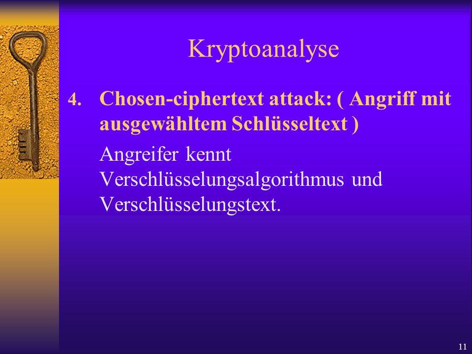 KryptoanalyseChosen-ciphertext attack: ( Angriff mit ausgewähltem Schlüsseltext )