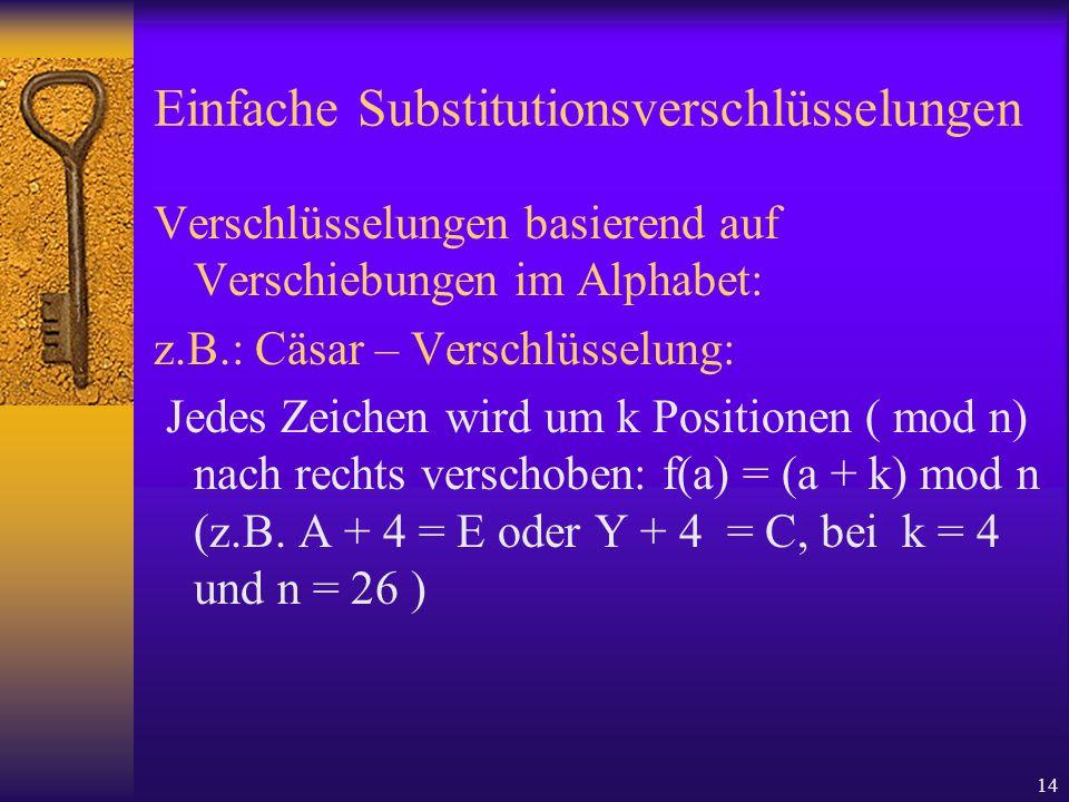 Einfache Substitutionsverschlüsselungen