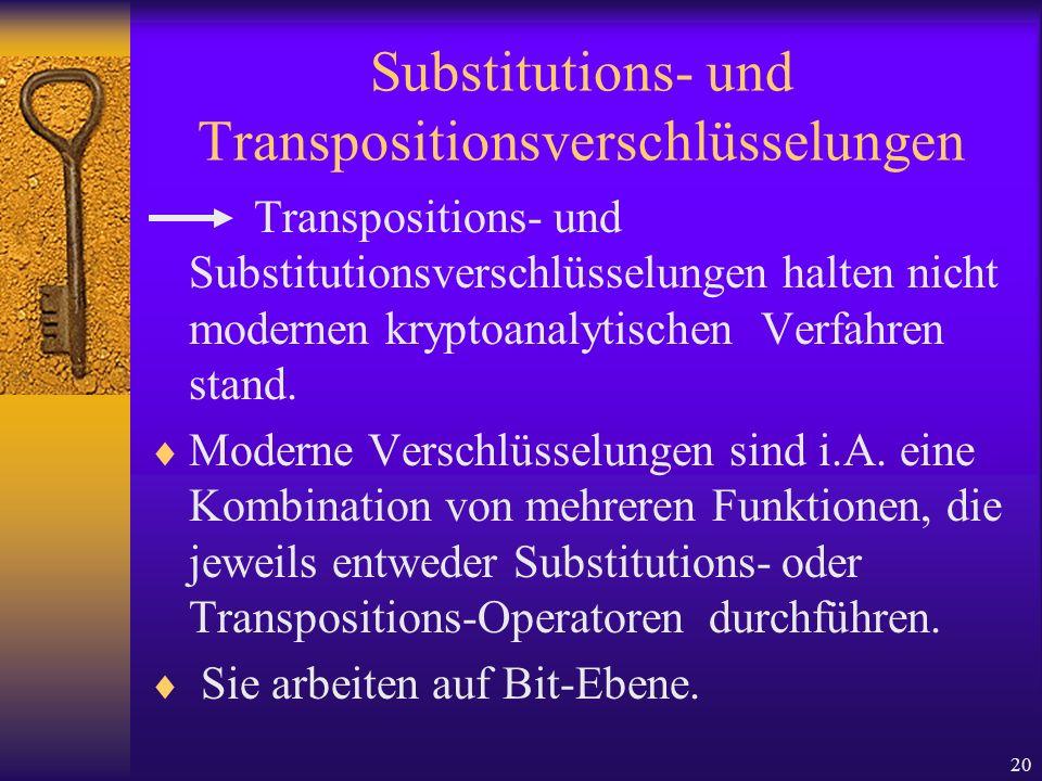 Substitutions- und Transpositionsverschlüsselungen
