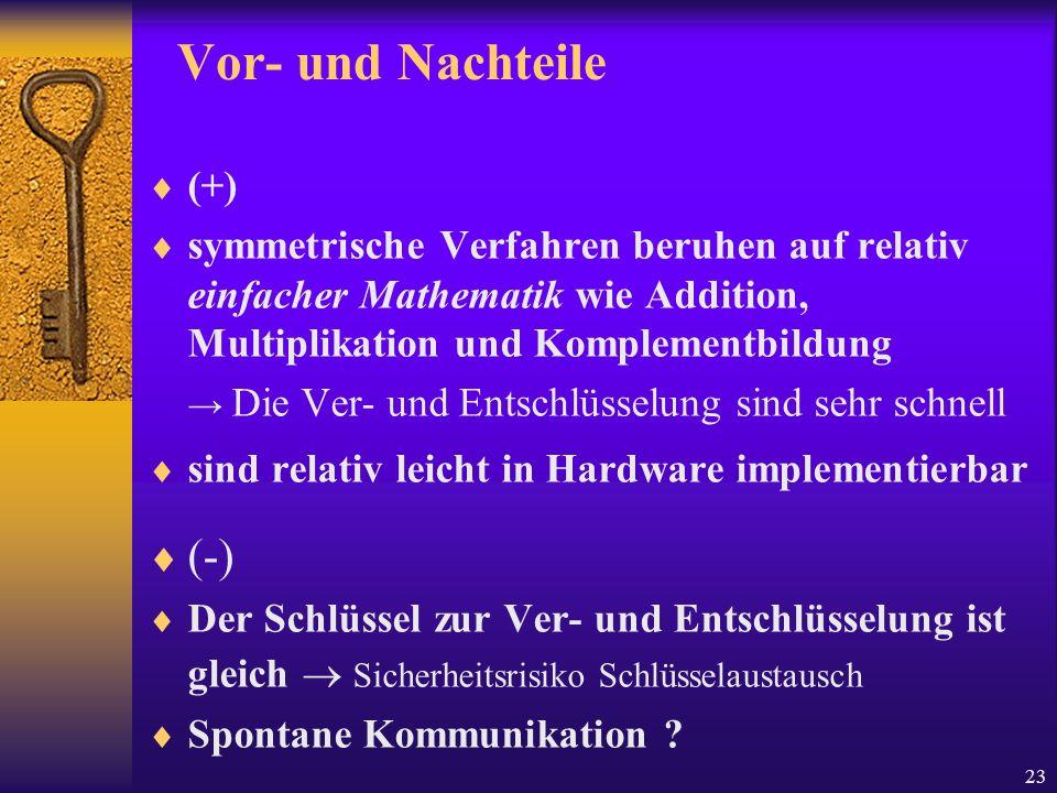 Vor- und Nachteile (-) (+)
