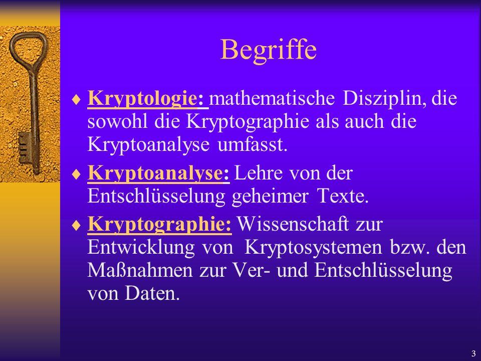 BegriffeKryptologie: mathematische Disziplin, die sowohl die Kryptographie als auch die Kryptoanalyse umfasst.