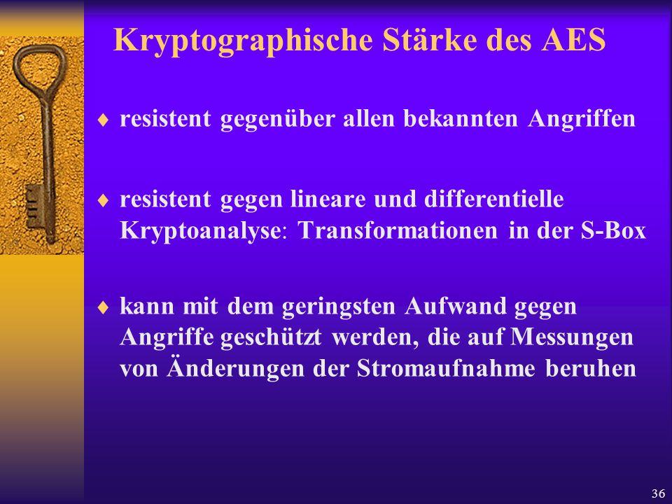 Kryptographische Stärke des AES