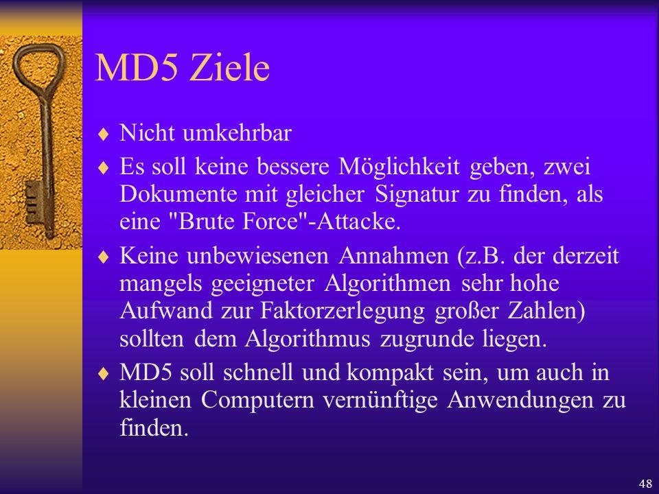 MD5 Ziele Nicht umkehrbar