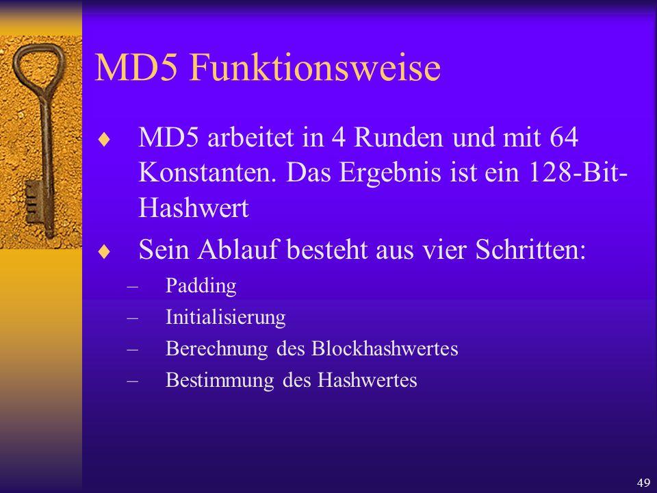 MD5 FunktionsweiseMD5 arbeitet in 4 Runden und mit 64 Konstanten. Das Ergebnis ist ein 128-Bit-Hashwert.
