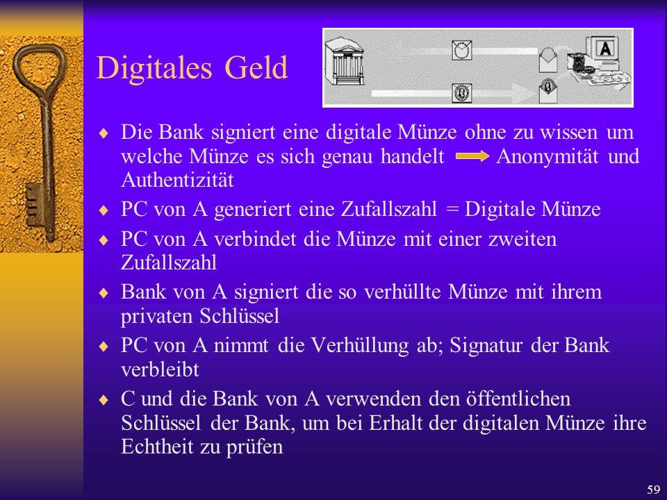 Digitales GeldDie Bank signiert eine digitale Münze ohne zu wissen um welche Münze es sich genau handelt Anonymität und Authentizität.