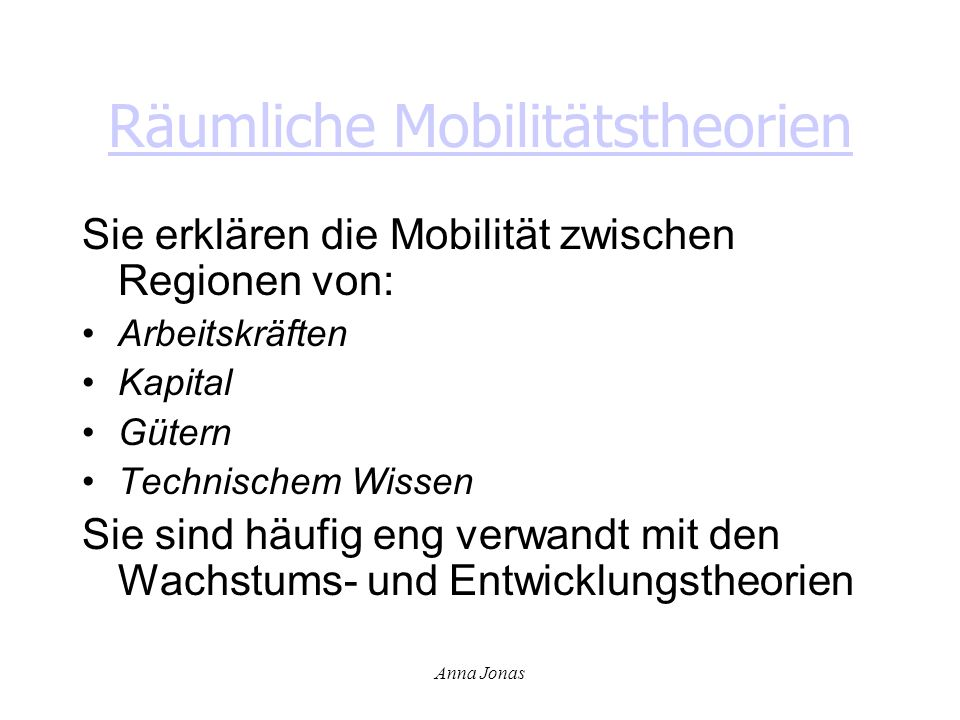 Räumliche Mobilitätstheorien