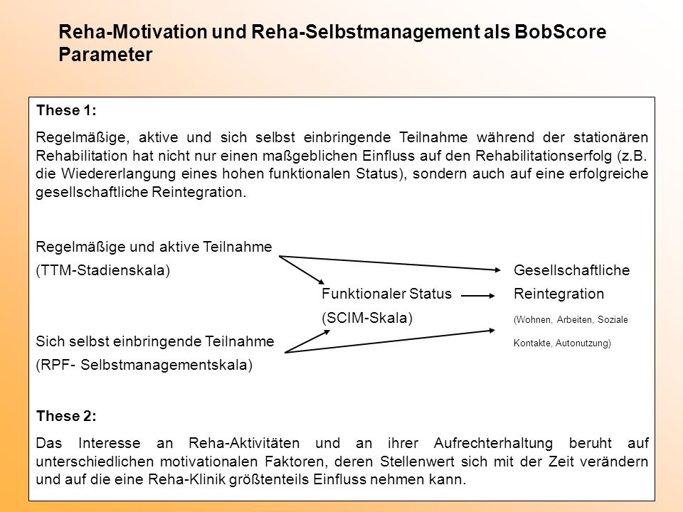 Reha-Motivation und Reha-Selbstmanagement als BobScore Parameter