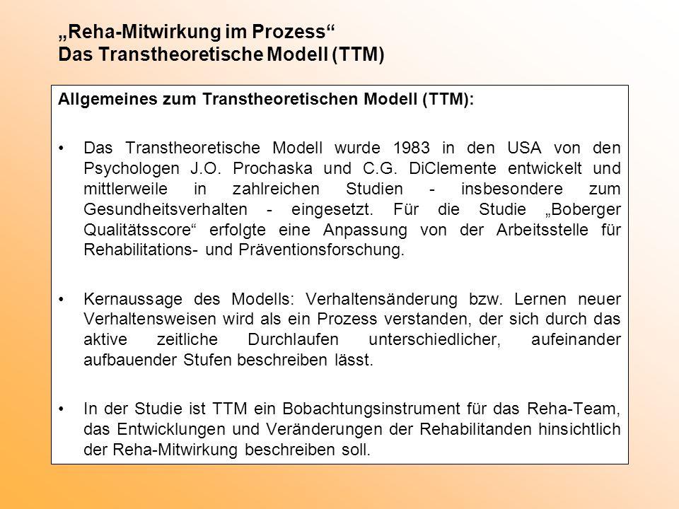 """""""Reha-Mitwirkung im Prozess Das Transtheoretische Modell (TTM)"""