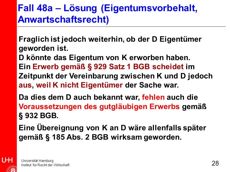 Fall 48a – Lösung (Eigentumsvorbehalt, Anwartschaftsrecht)
