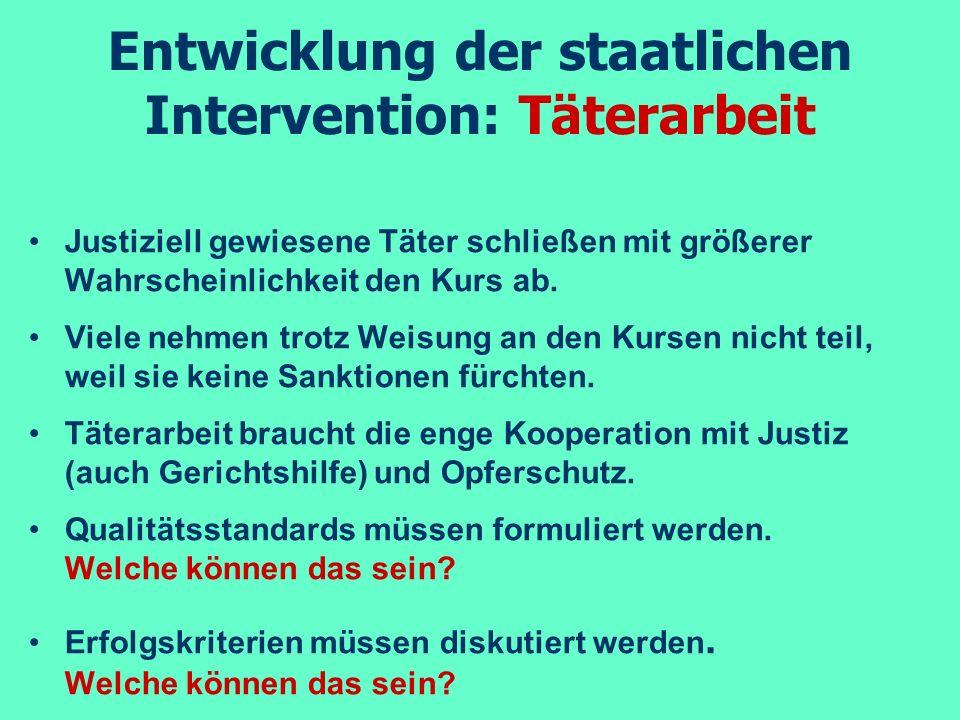 Entwicklung der staatlichen Intervention: Täterarbeit