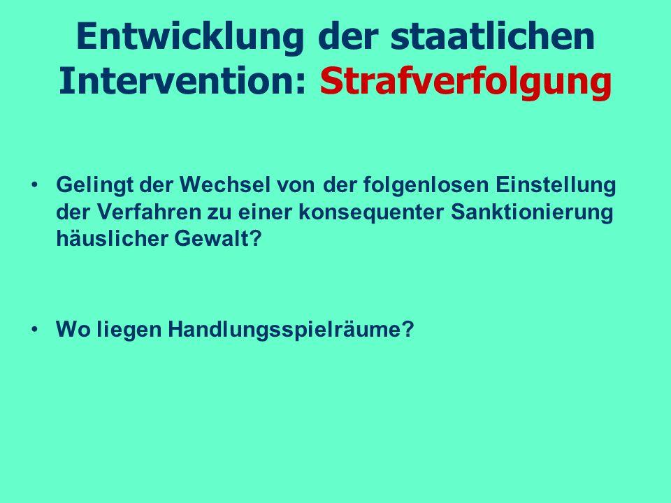 Entwicklung der staatlichen Intervention: Strafverfolgung