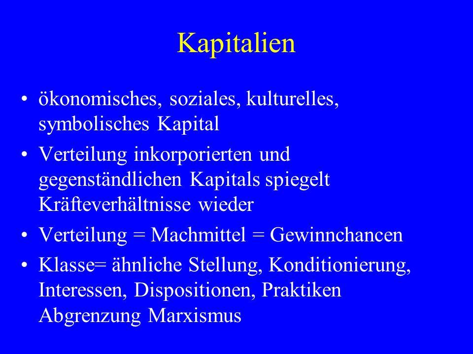 Kapitalien ökonomisches, soziales, kulturelles, symbolisches Kapital