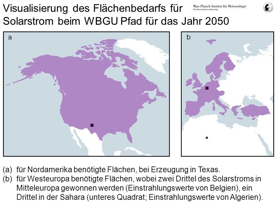 Visualisierung des Flächenbedarfs für Solarstrom beim WBGU Pfad für das Jahr 2050