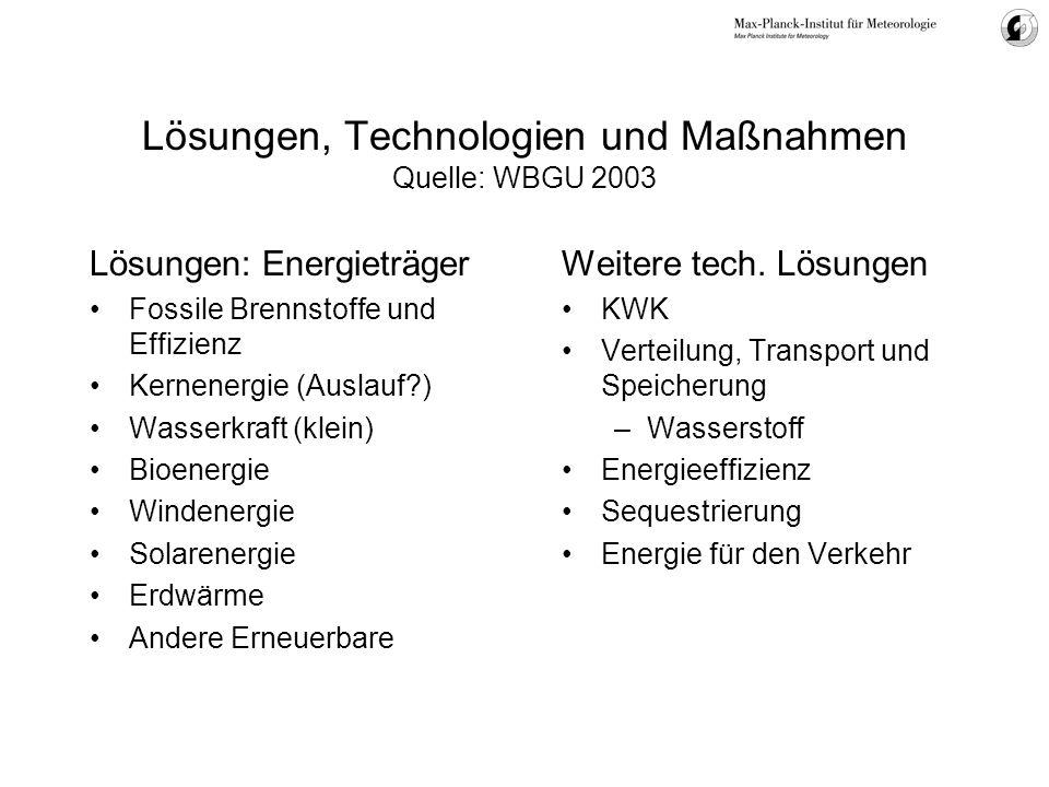 Lösungen, Technologien und Maßnahmen Quelle: WBGU 2003