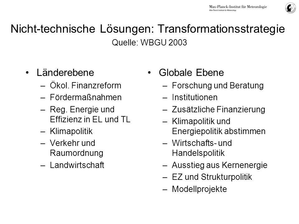 Nicht-technische Lösungen: Transformationsstrategie Quelle: WBGU 2003