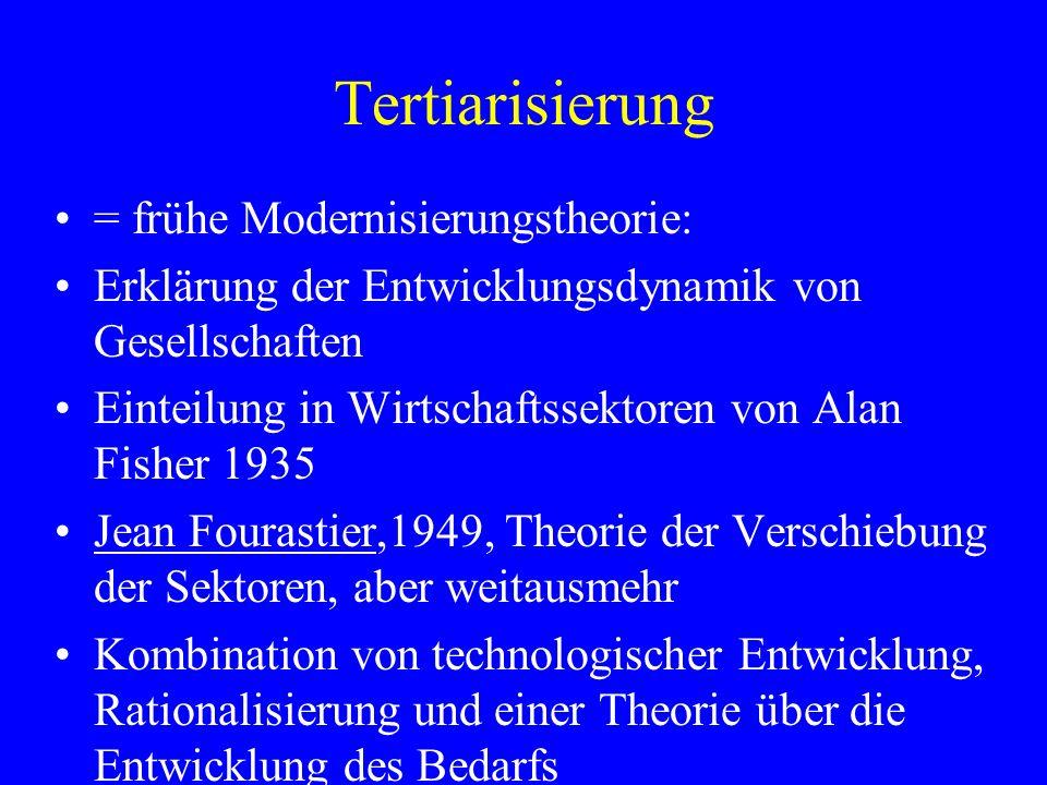 Tertiarisierung = frühe Modernisierungstheorie: