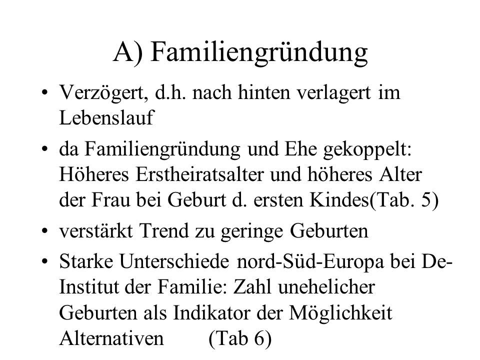 A) FamiliengründungVerzögert, d.h. nach hinten verlagert im Lebenslauf.