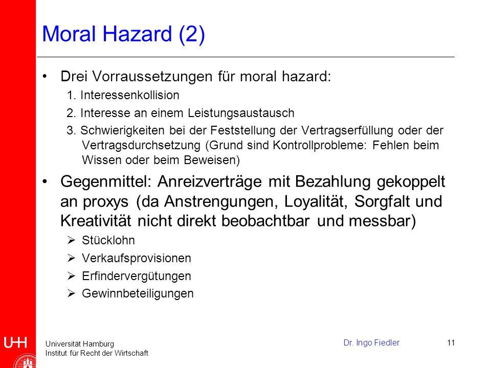 Moral Hazard (2) Drei Vorraussetzungen für moral hazard: 1. Interessenkollision. 2. Interesse an einem Leistungsaustausch.