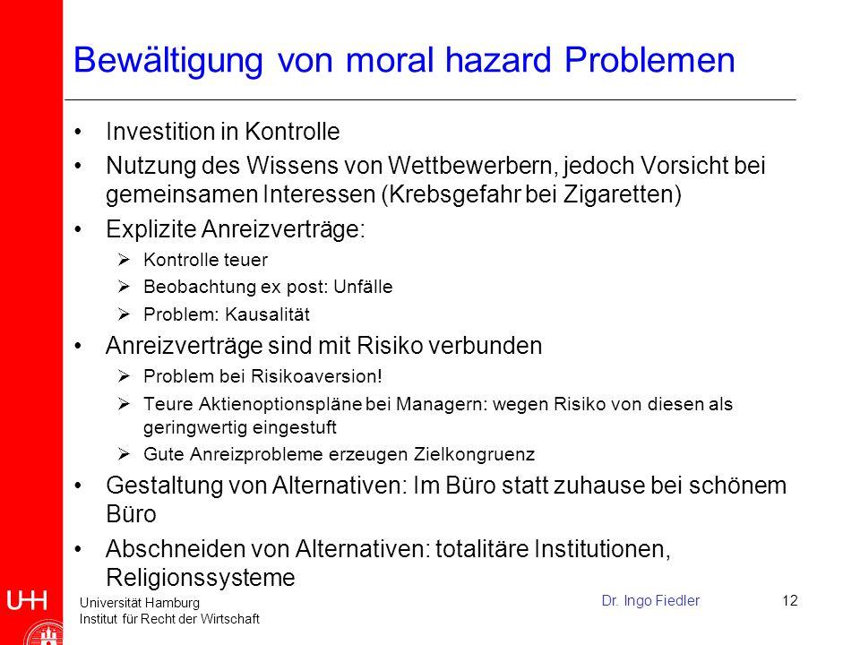 Bewältigung von moral hazard Problemen
