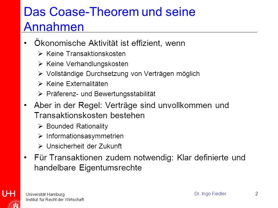 Das Coase-Theorem und seine Annahmen