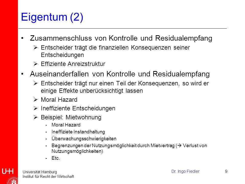Eigentum (2) Zusammenschluss von Kontrolle und Residualempfang