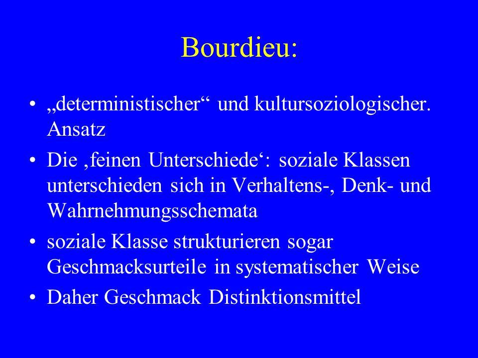 """Bourdieu: """"deterministischer und kultursoziologischer. Ansatz"""