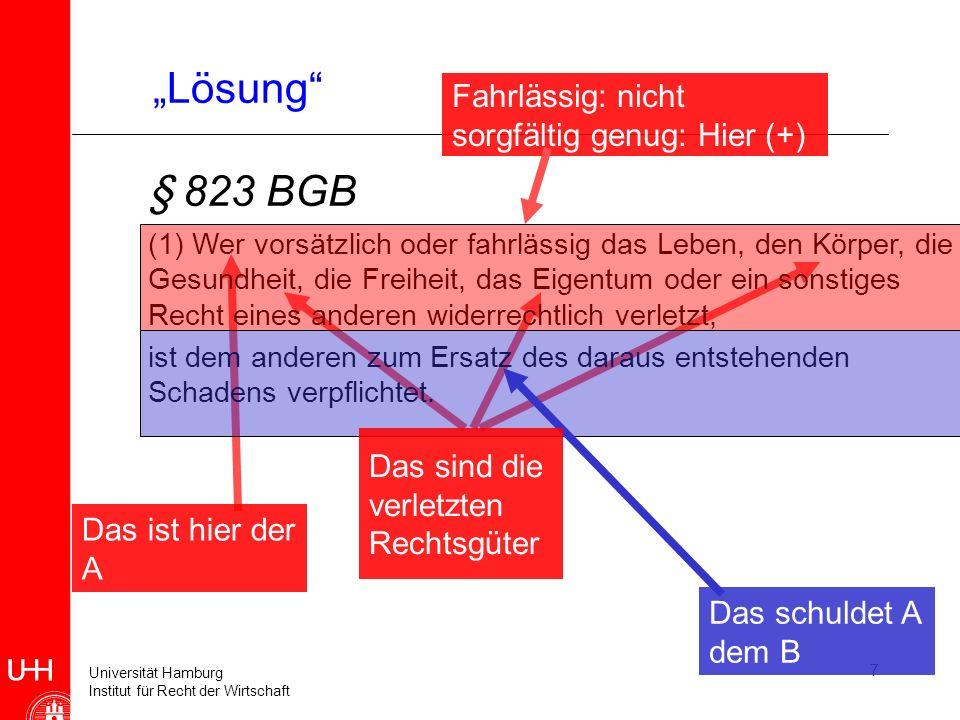 "§ 823 BGB ""Lösung Fahrlässig: nicht sorgfältig genug: Hier (+)"