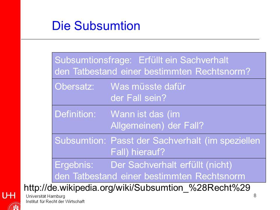 Die Subsumtion Subsumtionsfrage: Erfüllt ein Sachverhalt