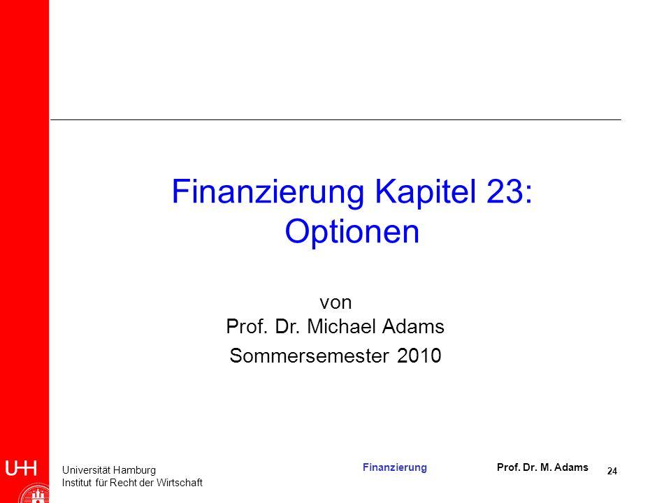 Finanzierung Kapitel 23: Optionen