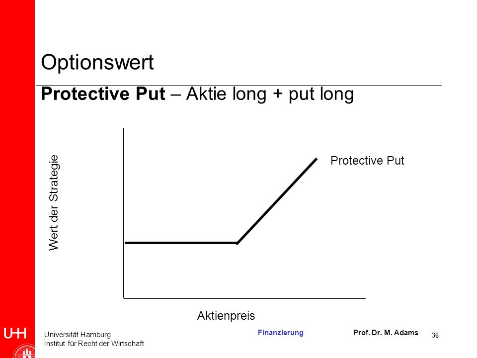 Optionswert Protective Put – Aktie long + put long Protective Put