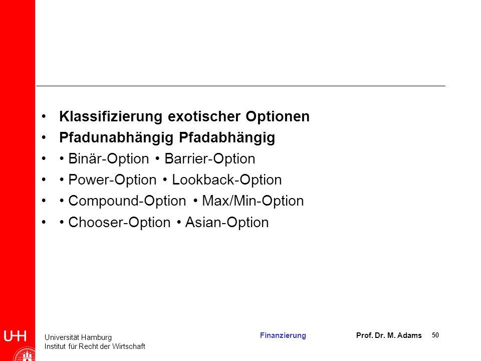 Klassifizierung exotischer Optionen
